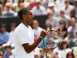 Nick Kyrgios of Australia celebrates during his Gentlemen's Singles second round match against Richard Gasquet of France on day four of the Wimbledon Lawn Tennis Championships at the All England Lawn Tennis and Croquet Club at Wimbledon on June 26, 2014