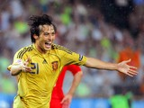 Spanish midfielder David Silva celebrates after scoring his team's third goal during the Euro 2008 championships semi-final football match Russia vs. Spain on June 26, 2008