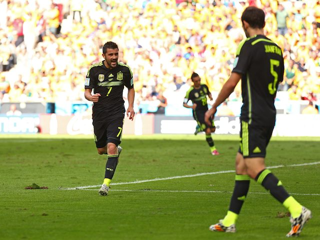 Spain's David Villa celebrates scoring the opener against Australia on June 23, 2014.