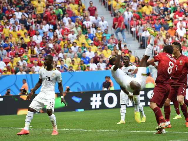 Ghana's defender John Boye scores an own goal during the Group G football match between Portugal and Ghana at the Mane Garrincha National Stadium in Brasilia during the 2014 FIFA World Cup on June 26, 2014
