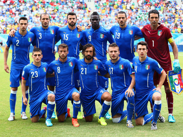 Italy players pose for a team photo prior to the 2014 FIFA World Cup Brazil Group D match between Italy and Uruguay at Estadio das Dunas on June 24, 2014