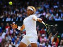 Rafael Nadal of Spain during his Gentlemen's Singles fourth round match against Nick Kyrgios of Australia on day eight of the Wimbledon Lawn Tennis Championships at the All England Lawn Tennis and Croquet Club on July 1, 2014
