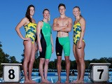 Brittany Elmslie, Bronte Barratt, Cameron McEvoy and Melanie Schlanger pose during the Australian Commonwealth Games Swim Team Speedo Uniform Launch on July 1, 2014