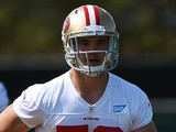 Chris Borland #50 of the San Francisco 49ers participates in drills during 49ers Rookie Minicamp on May 23, 2014
