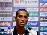 Costa Rica's defender Roy Miller speaks during a press conference after a training session in Santos on June 16, 2014
