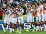 Germany's team celebrate after winning the quarter-final football match between France and Germany 1-0 at the Maracana Stadium in Rio de Janeiro during the 2014 FIFA World Cup on July 4, 2014