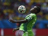 Nigeria's forward Emmanuel Emenike plays the ball during a Round of 16 football match between France and Nigeria at Mane Garrincha National Stadium in Brasilia during the 2014 FIFA World Cup on June 30, 2014
