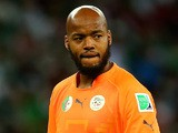 Goalkeeper Rais M'Bolhi of Algeria looks on during the 2014 FIFA World Cup Brazil Round of 16 match between Germany and Algeria at Estadio Beira-Rio on June 30, 2014