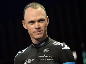 Britain's Christopher Froome is pictured during the team presentation ceremony at the First Direct Arena in Leeds, western England, on July 3, 2014
