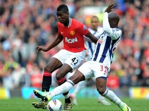 Paul Pogba in action for Manchester United against West Bromwich Albion on March 11, 2012.