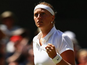 Petra Kvitova of Czech Republic celebrates during her Ladies' Singles semi-final match against Lucie Safarova on July 3, 2014