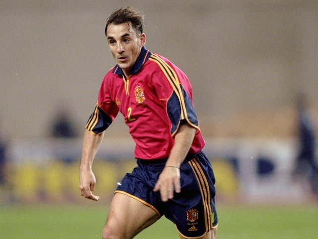 Albert Ferrer of Spain on the ball during the International Friendly against Argentina at the Olympic Stadium in Seville on November 17, 1999