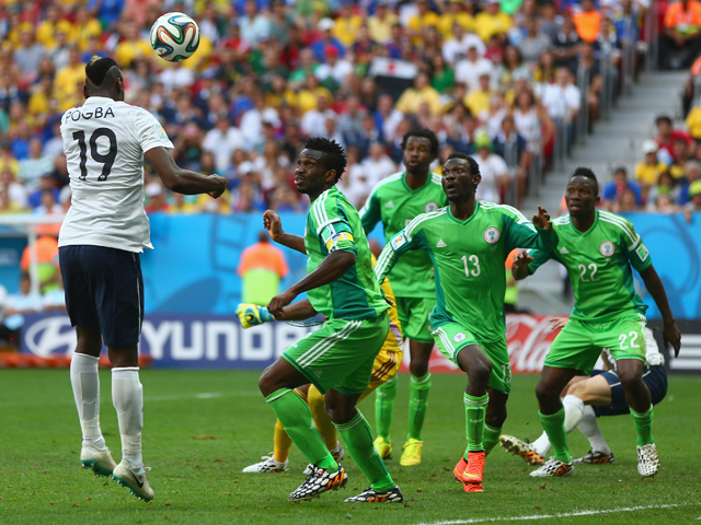 Paul Pogba of France scores his team's first goal on a header during the 2014 FIFA World Cup Brazil Round of 16 match between France and Nigeria at Estadio Nacional on June 30, 2014