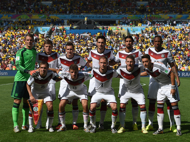 Germany national team pose ahead of the quarter-final football match between France and Germany at The Maracana Stadium in Rio de Janeiro on July 4, 2014, during the 2014