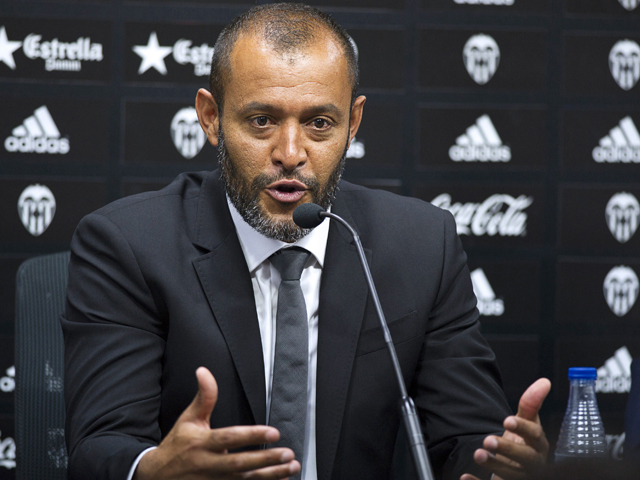 Valencia's new Portuguese coach Nuno Espirito Santo speaks during a press conference at the Ciudad Deportiva de Paterna training ground near Valencia on July 4, 2014