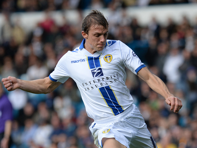 Stephen Warnock of Leeds United during their Sky Bet Championship match between Leeds United and Birmingham City at Elland Road Stadium on October 20, 2013