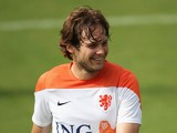 Daley Blind laughs during the Netherlands training session at the 2014 FIFA World Cup Brazil held at the Estadio Jose Bastos Padilha Gavea on July 2, 2014