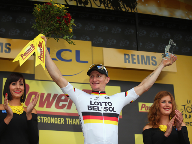 Andre Greipel of Germany and Lotto-Belisol celebrates winning stage six of the 2014 Tour de France, a 194km stage between Arras and Reims, on July 10, 2014