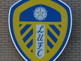 The Leeds United club badge outside Elland Road Stadium on January 9, 2013