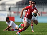Wales' Nicholas Griffiths runs with the ball during the rugby match between Wales and Georgia at the 'Seven's Grand Prix Series' rugby tournament at the Matmut Stadium in Lyon on June 9, 2013.