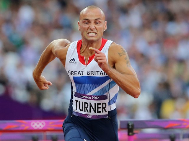 Andy Turner competing in the men's 110m hurdles on August 8, 2012
