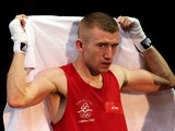 Paddy Barnes of Ireland looks on during his bout against Devendro Singh Laishram of India during the Men's Light Fly (49kg) Boxing quarterfinals on Day 12 of the London 2012 Olympic Games at ExCeL on August 8, 2012