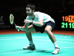 Chris Langridge of England prepares to receive serve during the Final of the Mixed Doubles on October 6, 2013
