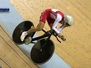 England's Dani King competes in the women's 3000m individual pursuit in the Sir Chris Hoy Velodrome during the 2014 Commonwealth Games in Glasgow, Scotland on July 25, 2014