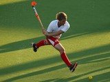 Ashley Jackson of England takes a shot on goal during the Men's preliminary match between England and Trinidad and Tobago at Glasgow National Hockey Centre during day one of the Glasgow 2014 Commonwealth Games on July 24, 2014
