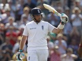 Englands Ian Bell acknowledges the crowd after reaching 150 runs during the second days play in the third cricket Test match between England and India at The Ageas Bowl cricket ground in Southampton on July 28, 2014