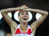 Laura Weightman of England celebrates winning silver in the Women's 1500 metres final at Hampden Park during day six of the Glasgow 2014 Commonwealth Games on July 29, 2014