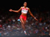 Shara Proctor of England competes in the Women's Long Jump qualification at Hampden Park during day seven of the Glasgow 2014 Commonwealth Games on July 30, 2014