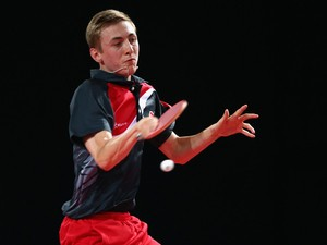 Liam Pitchford of England in action during the singles match between Ning Gao of Singapore and Liam Pitchford of England in the Men's Team Table Tennis Final between Singapore and England at Scotstoun Sports Campus during day five of the Glasgow 2014 Comm