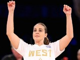 Western Conference WNBA All-Star Becky Hammon #25 of the San Antonio Stars follows through on her shot during the Sears Shooting Stars Competition 2014 on February 15, 2014