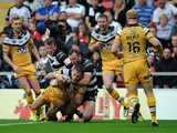 Daryl Clark scores a try for Castleford Tigers during the Challenge Cup semi on August 10, 2014