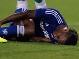 Chelsea forward Didier Drogba lies injured on August 10, 2014