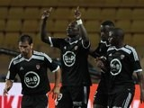 Lorient's Vincent Aboubakar celebrates scoring a penalty against Monaco on August 10, 2014