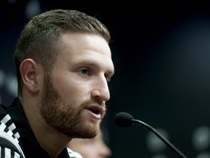 Valencia's new German defender Shkodran Mustafi gives a press conference during his official presentation in Valencia on August 7, 2014