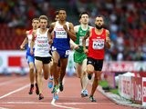 Andrew Osagie leads the pack during the men's 800m heats in Zurich on August 12, 2014