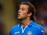 Stevie May of St Johnstone in action during the UEFA Europa League third qualifying round second leg match on August 8, 2013