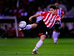 Sheffield United player Ched Evans in action during the npower League One game between Sheffield United and Chesterfield at Bramall Lane on March 28, 2012