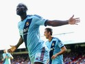 Carlton Cole of West Ham celebrates scoring his team's third goal during the Barclays Premier League match between Crystal Palace and West Ham United at Selhurst Park on August 23, 2014