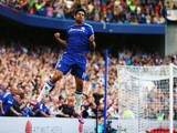 Diego Costa of Chelsea celebrates as he scores their first goal dur