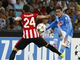 Napoli's Spanish forward Jose Maria Callejon vies with Bilbao's Spanish defender Mikel Balenziaga during the first leg of the UEFA Champions League play-off football match between SSC Napoli and Bilbao Athletic Club in San Paolo Stadium on August 19, 2014