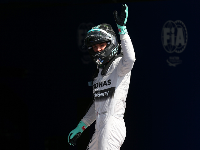 Nico Rosberg of Germany and Mercedes GP celebrates after claiming pole position during qualifying ahead of the Belgian Grand Prix at Circuit de Spa-Francorchamps on August 23, 2014