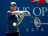 Andy Murray in action during his first round match at the US Open against Robin Haase in New York on August 25, 2014