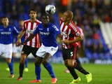 Clayton Donaldson of Birmingham City tangles with Wes Brown of Sunderland during the Capital One Cup second round match between Birmingham City and Sunderland at St Andrews on August 27, 2014