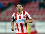 Saviola of Olympiacos F.C. in action during the Greek Superleague match between Olympiacos F.C. and Panionios GSS at the Karaiskaki Stadium on February 5, 2014