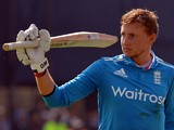 England's Joe Root gestures to the crowd as he walks off having lost his wicket for 113 during the fifth one-day international (ODI) cricket match between England and India at Headingley in Leeds, northern England, on September 5, 2014