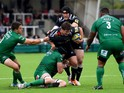 Falcons player Adam Powell is stopped by Irish players Fergus Mulchrone and captain George Skivington during the Aviva Premiership match between Newcastle Falcons and London Irish at Kingston Park on September 14, 2014